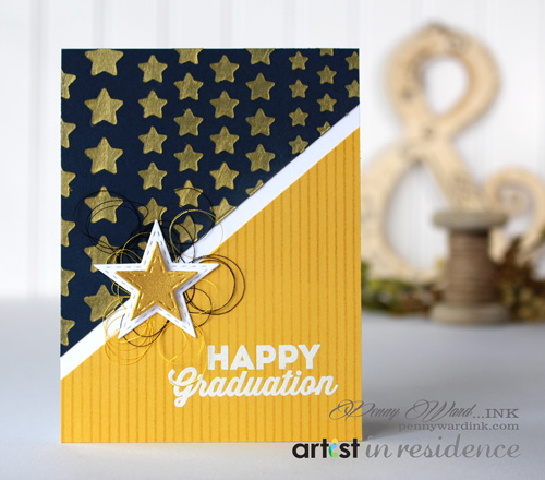 Creative Medium in Gold for a Happy Graduation Card