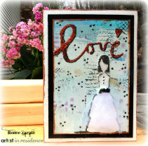 StazOn Studio Glaze for a Mixed Media Bridal Card