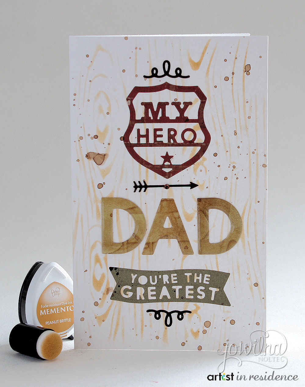 Memento Ink for Woodgrain Father's Day Card