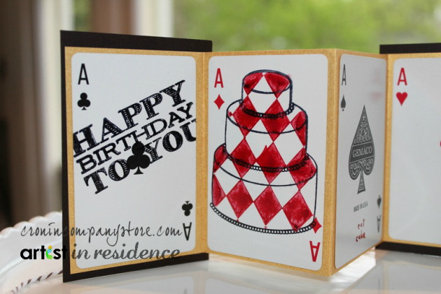 StazOn Ink for a Playing Card Themed Birthday Card