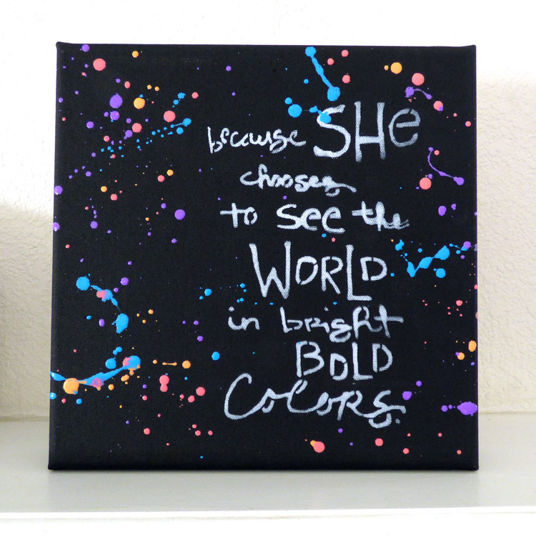 Bold Colors, Bold World on Black Art Canvas