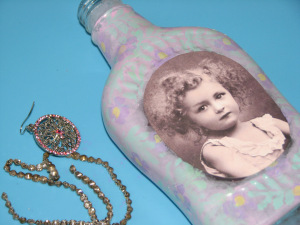 Frosted Altered Art Bottle