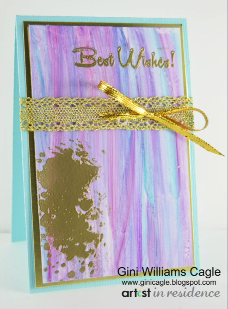 Best Wishes Striated Card with All Purpose Ink