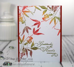 Sending thank you cards this time of year requires a palette of beautiful colors and this Easy Peasy Mr. Sneezy card can be completed in just a few minutes using a Kaleidacolor ink pad.