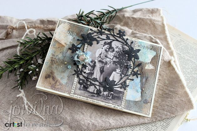 Tutorial on creating vintage styled Christmas cards using StazOn Studio Glaze, Tsukineko inks and a vintage photo.
