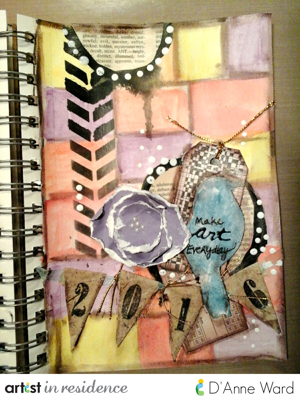 StazOn Ink for a Make Art Everyday Mixed Media Page