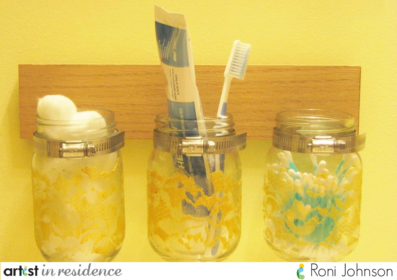 DIY Lace Mason Jar Storage