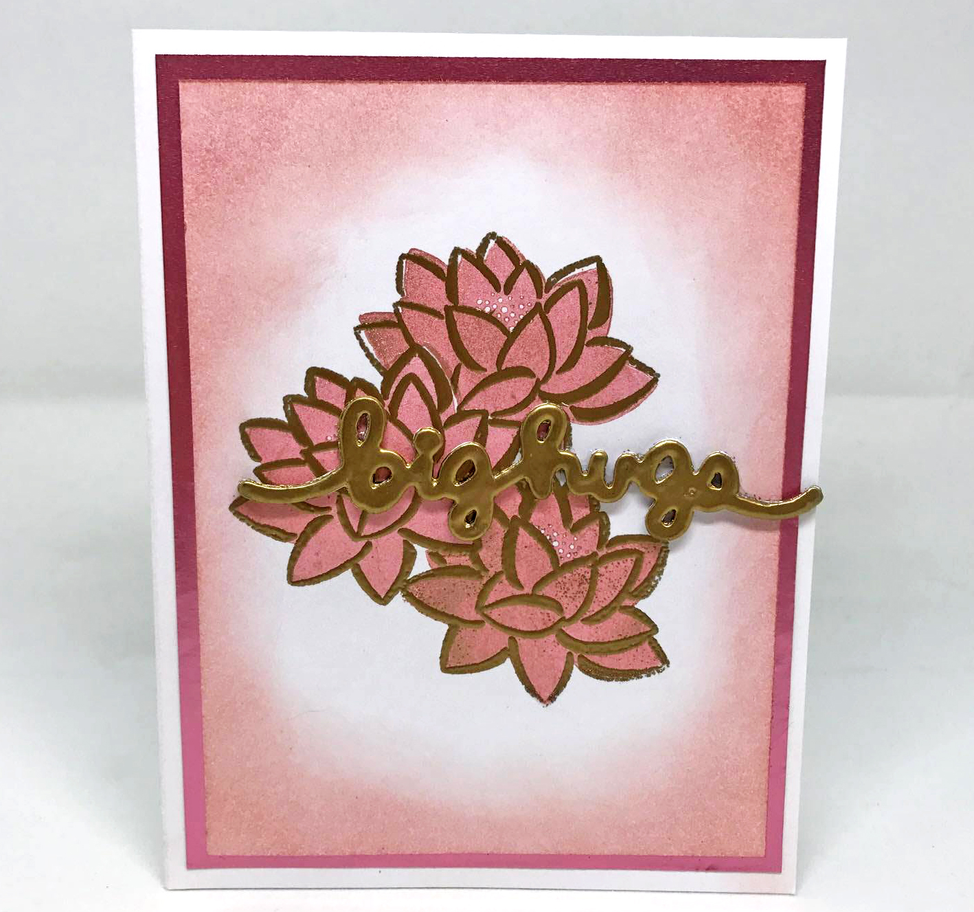 Handmade card usng Tsukineko's Delicata Rose Gold Ink and a die cut sentiment