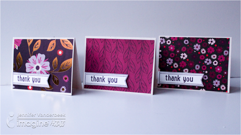 Three unique handmade thank you cards in purples and magentas by Jennifer Vanderbeek.