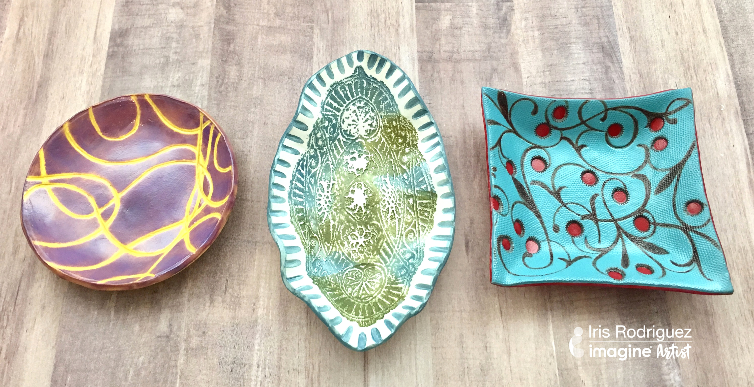 Learn How To Make Three Unique Bowls Using Polyform Clay inked with StazOn ink and VersaMagic ink