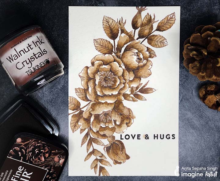 Beautiful brown hues on a homemade card acheived by watercoloring with Walnut Ink Crystals.