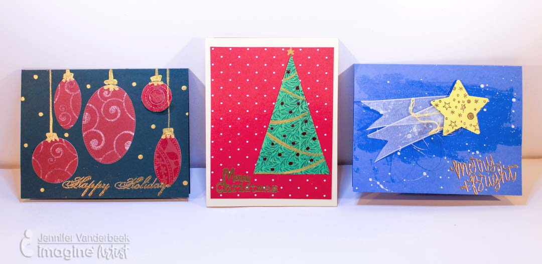 Handmade christmas cards made using simple shapes cut out and adding fun decorations to complete the looks.