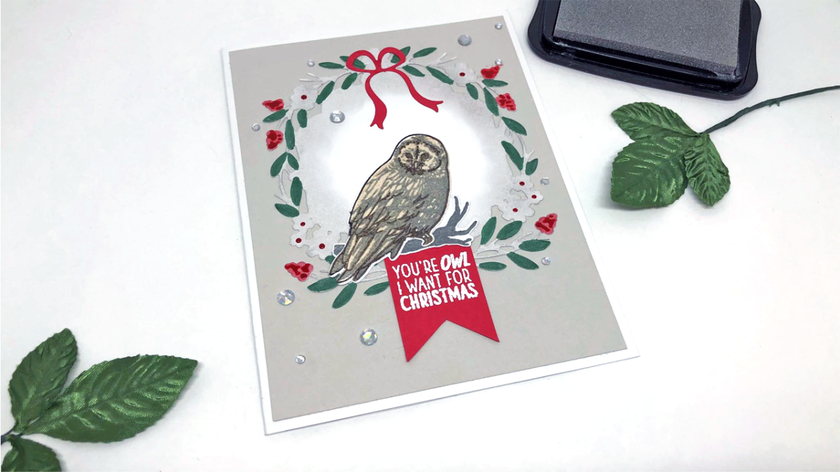 Handmade Christmas card featuring an Owl in a wreath.