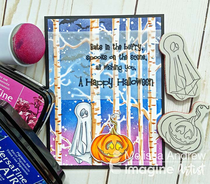 Handmade Halloween card featuring a blended night sky and forest made with VersaFine Clair inks.