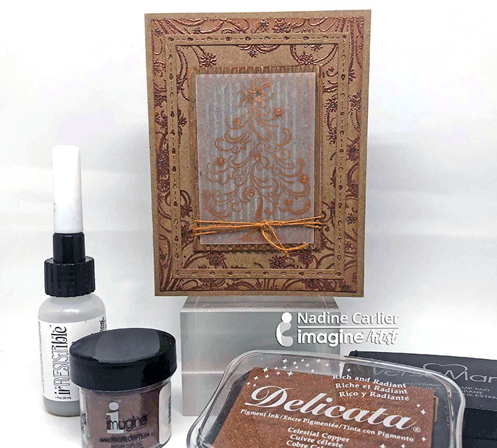 Handmade card featuring a monochromatic look made with karft cardstock and copper inks and embossing powders.