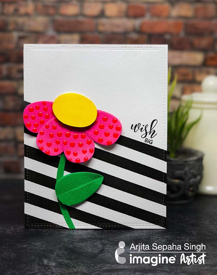 Handmade cute and simple card featuring an oversized daisy made with Dewlet etched metal dies.