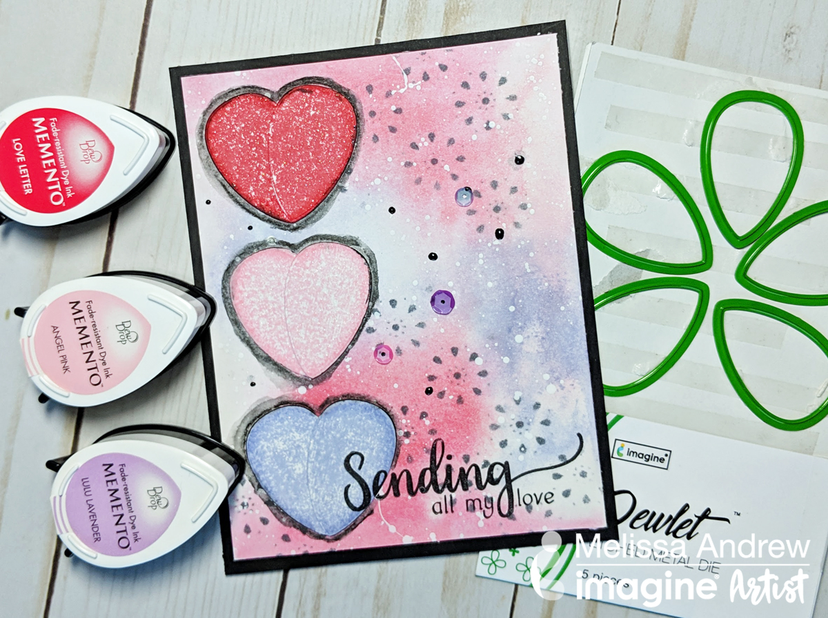 Handmade Valentine card featuring pastel colored hearts created with Dewlet die cuts and Memento inks.