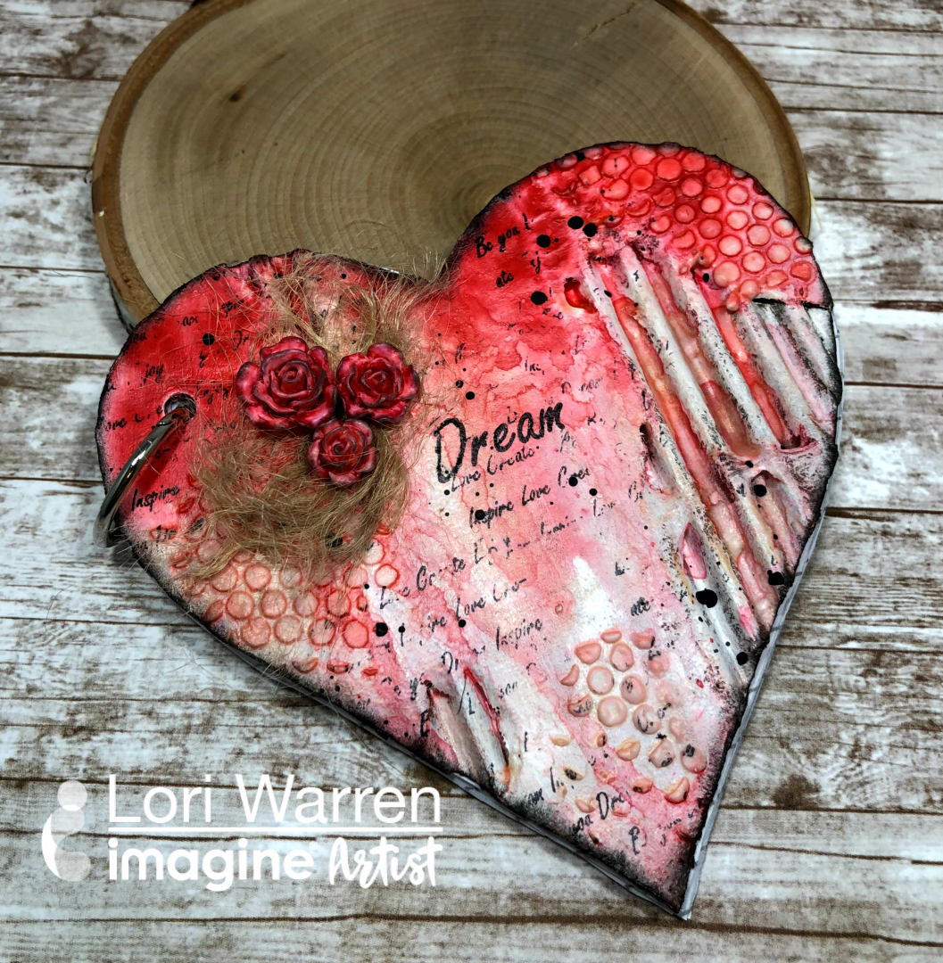 Handmade grungy mixed media heart shaped red journal