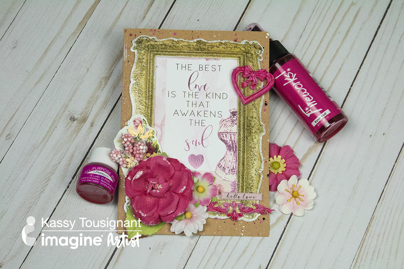 Handmade valentine card veaturing a cute gold frame