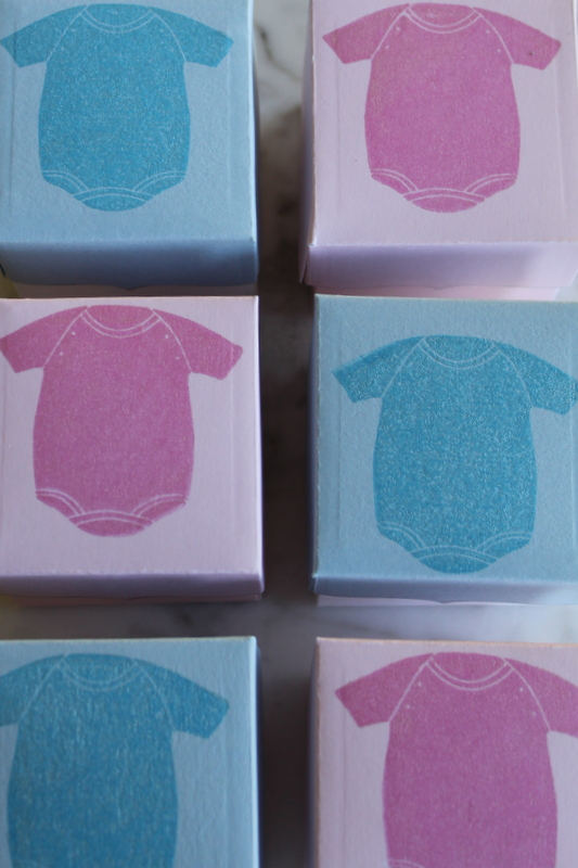 Baby Shower Treat Boxes with Brilliance Ink in Pearlescent Sky Blue and Pearlescent Orchid