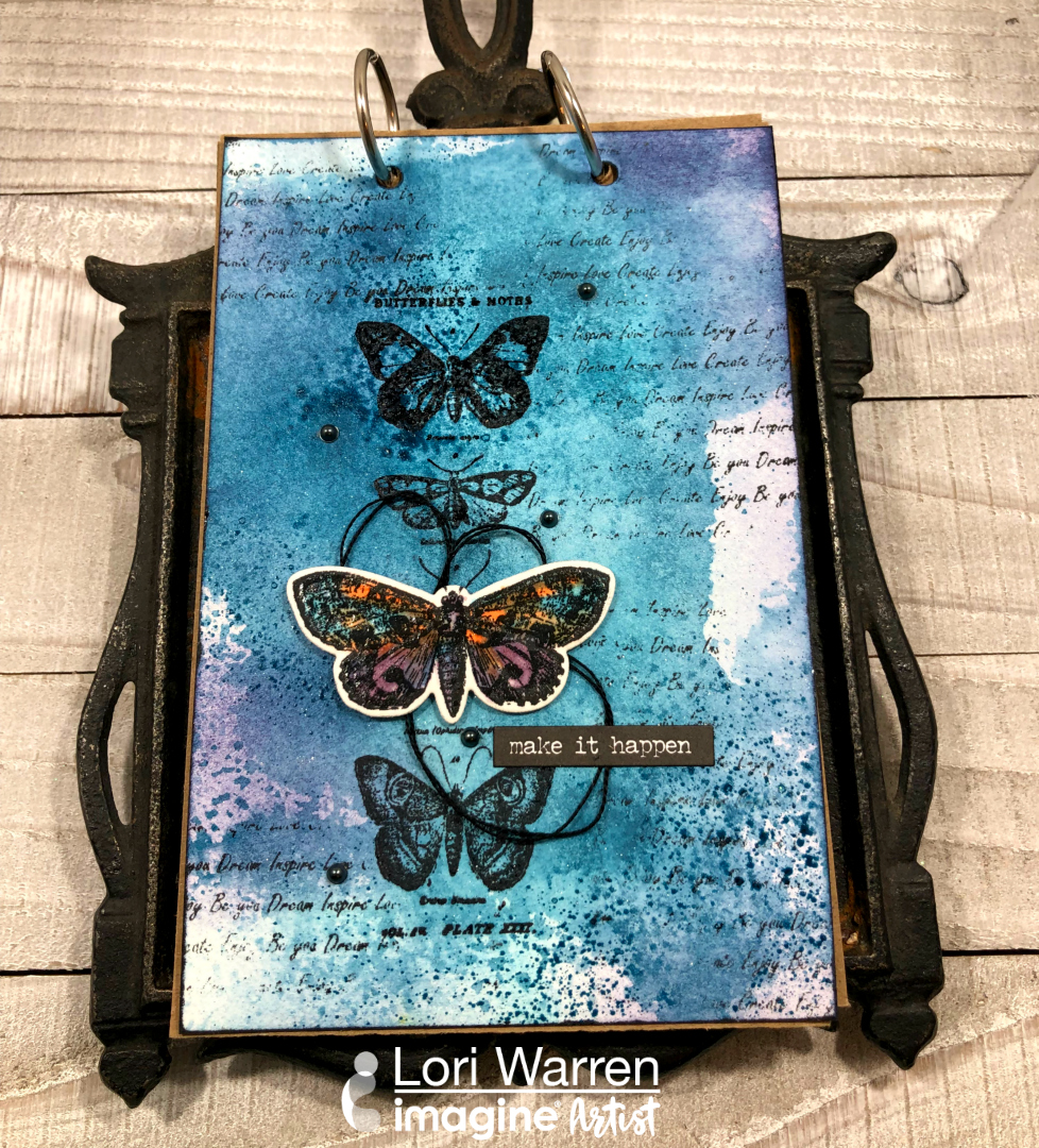 Handmade Journal cover with butterflies and sentiment