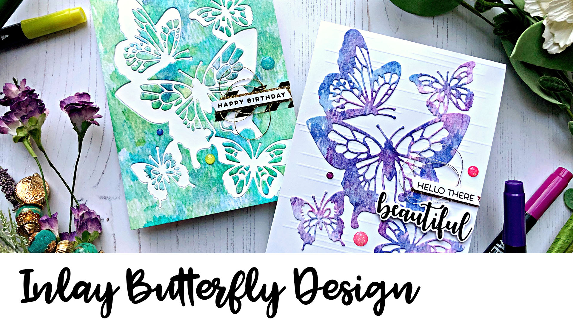 Butterfly Themed Card with an Inlay Technique