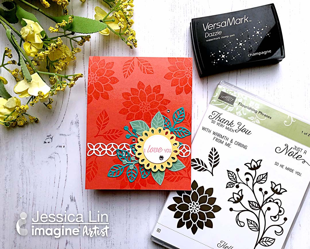 Handmade card featuring floral images including tone on tone stamping done with VersaMark Dazzle ink.