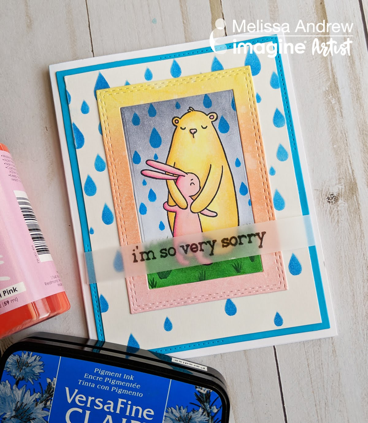 Handmade sympathy card featuring stenciled raindrops using VersaFine Clair and a hugging bear and bunny image colored with Copic Markers