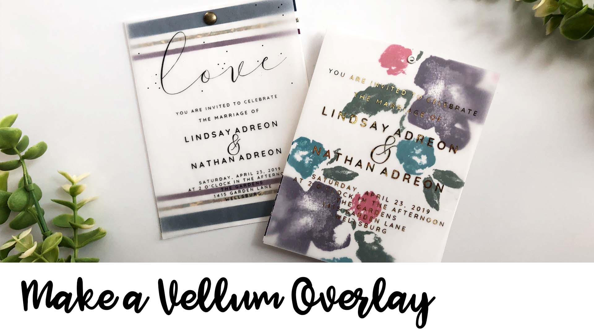 Handmade wedding invitaitons featuring a vellum overlay and several designs.