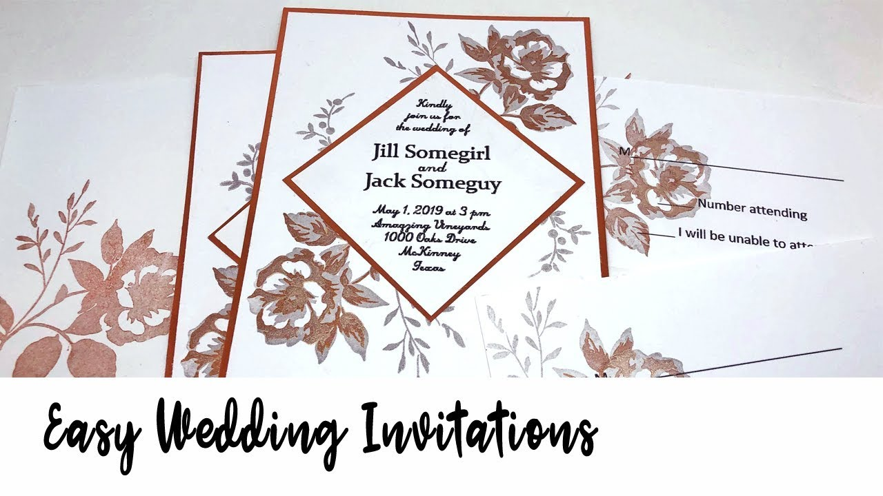 Handmade wedding inviations featuring floral images stamped with metallic Delicata inks.
