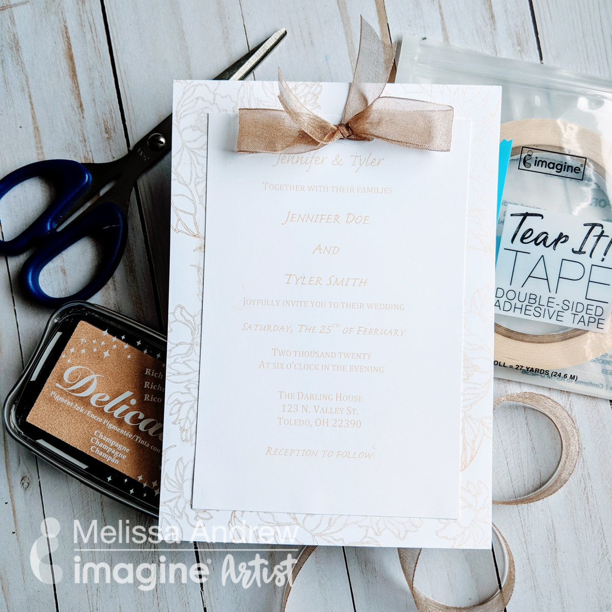 DIY wedding invitation easy enough for a beginner to make.