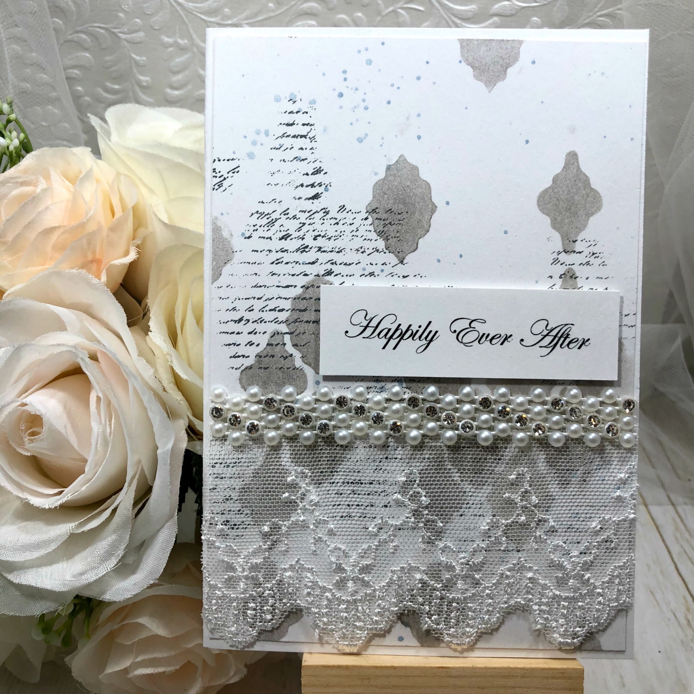 Handmade mixed media inspired wedding card with silver and white tones