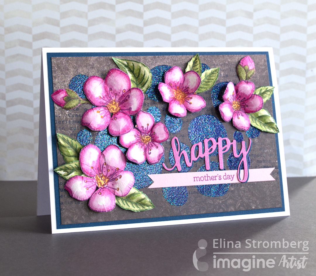 Handmade mother's day card featuring a DIY background with amazing glitter and floral embellishments to die for.