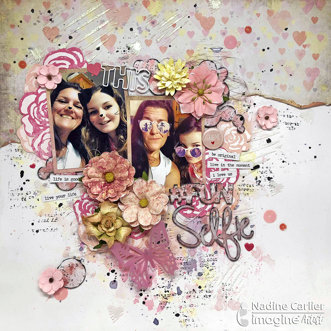 Selfie themed scrapbook layout with a hand-built mixed media background