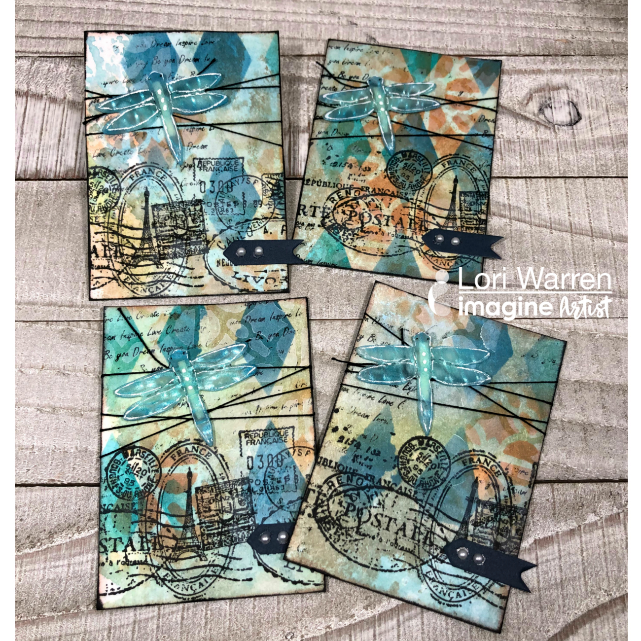 Artist trading cards featuring dragonflies made out of Vertigo crafting sheets.