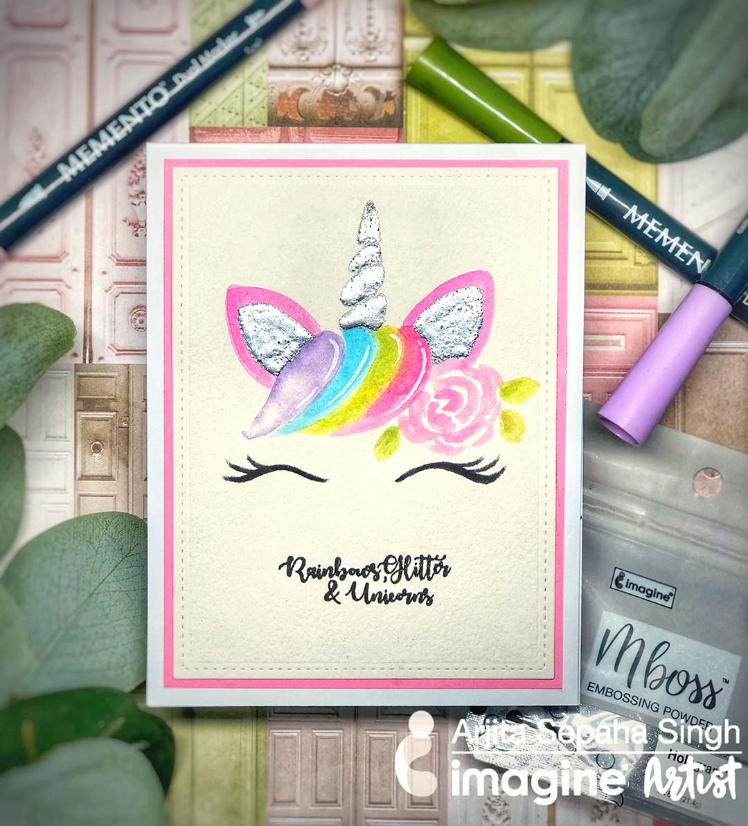 Handdrawn and painted unicorn image on a cute card for birthdays, showers or other greetings.