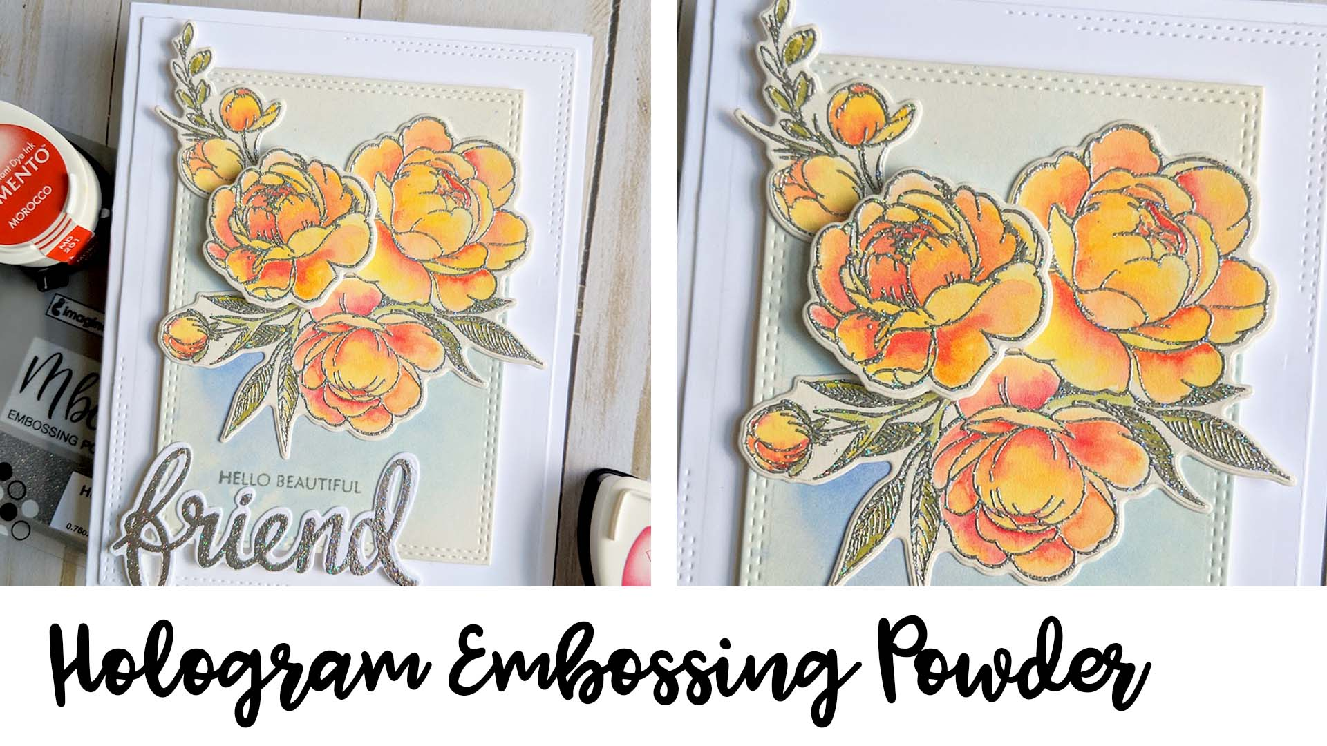 Handmade floral card featuring a holographic outline made with Mboss embossing powder