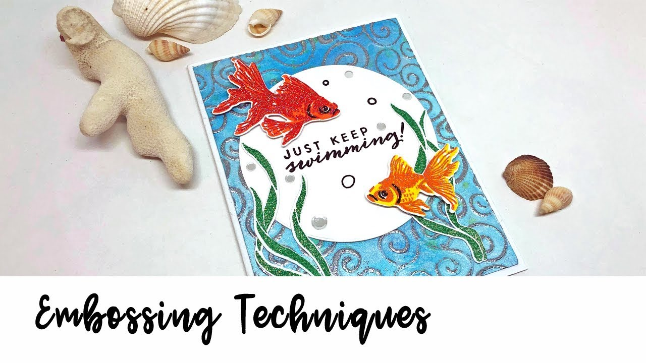 Handmade sea themed card featuring three colors of Mboss embossing powder