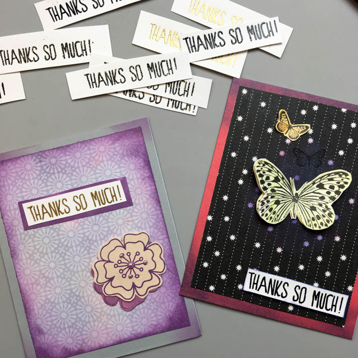 handmade cards featuring embossed sentiments