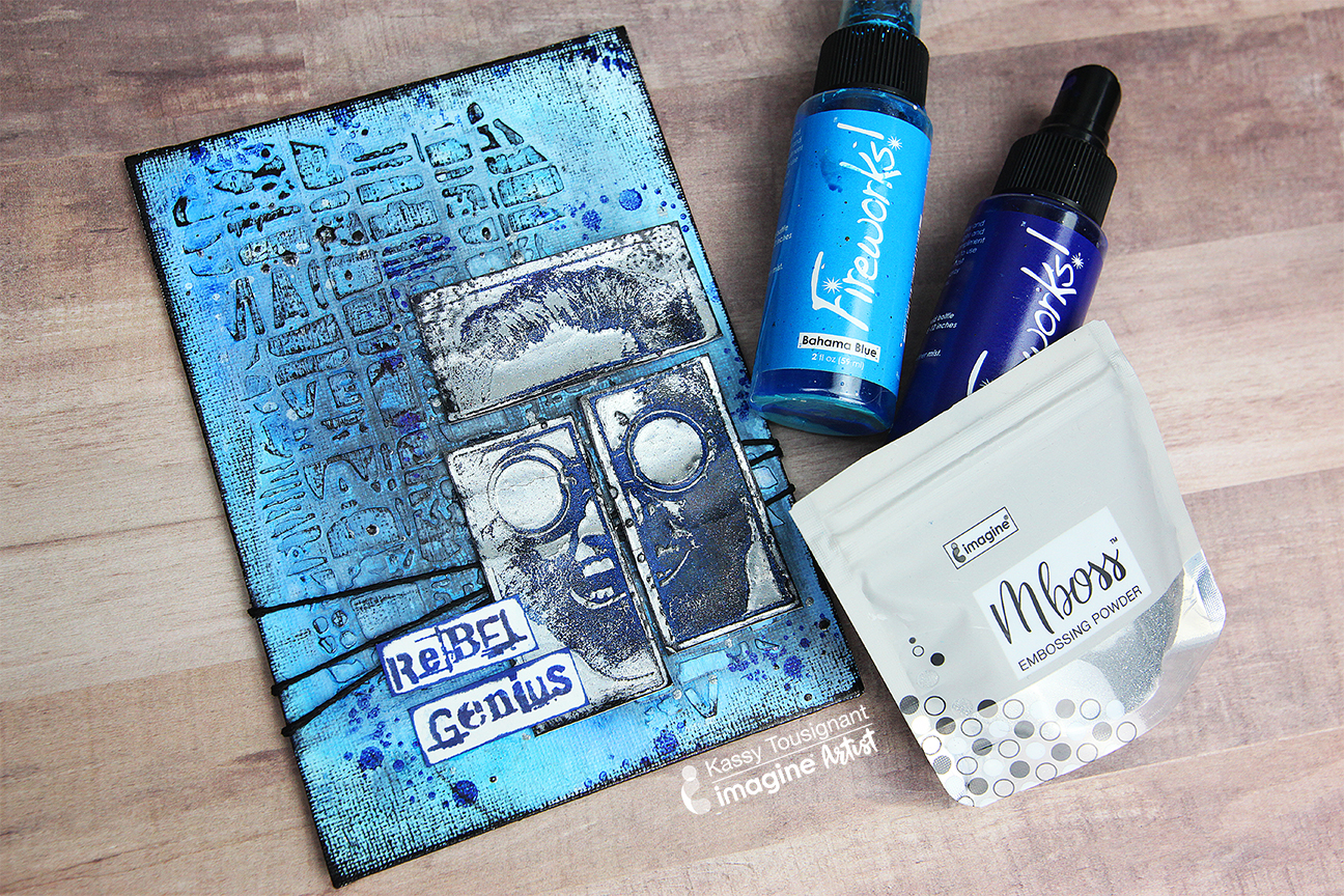 Blue mixed media canvas with embossed elements and the words