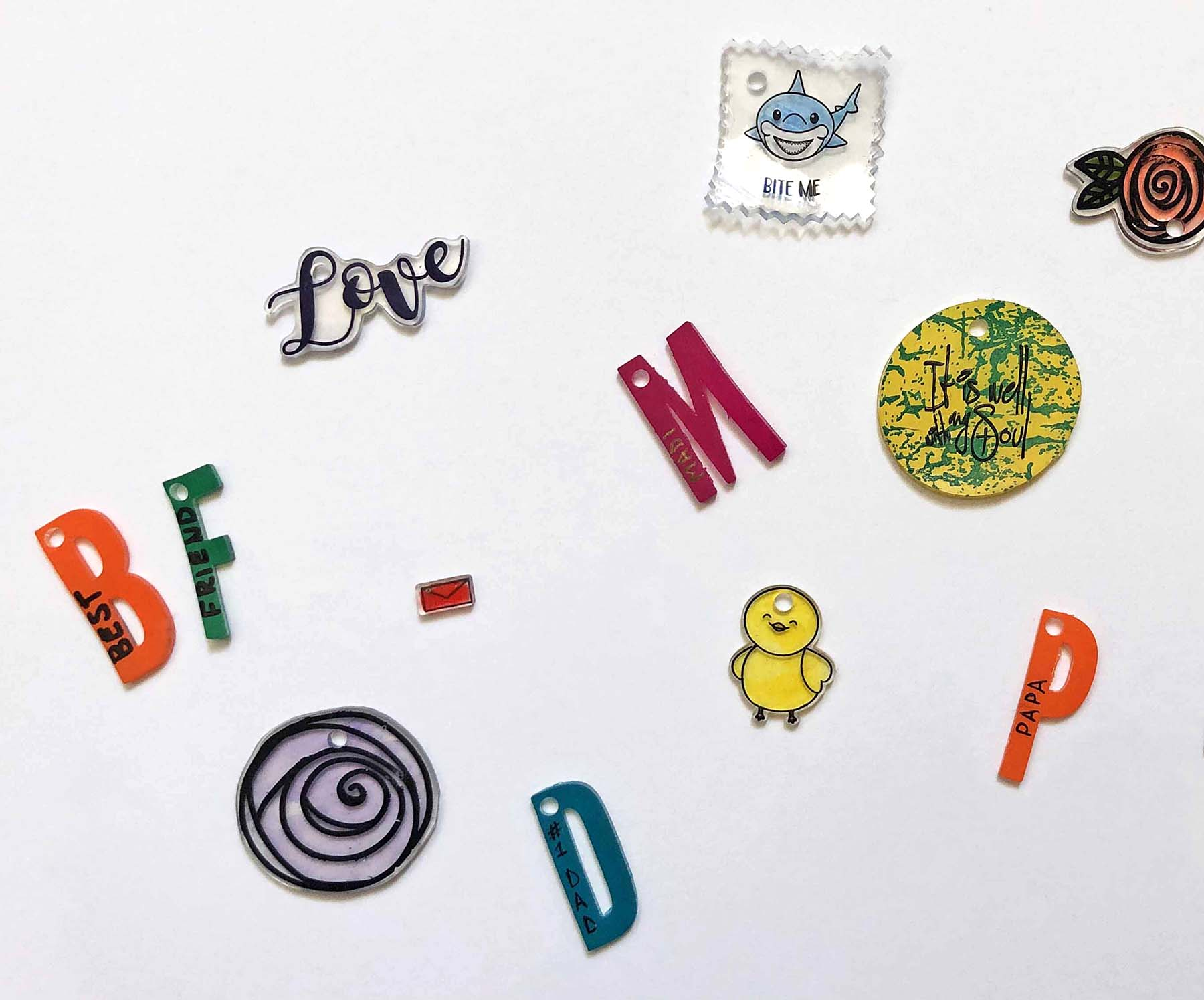 Shink plastic charms made with StazOn Pigment