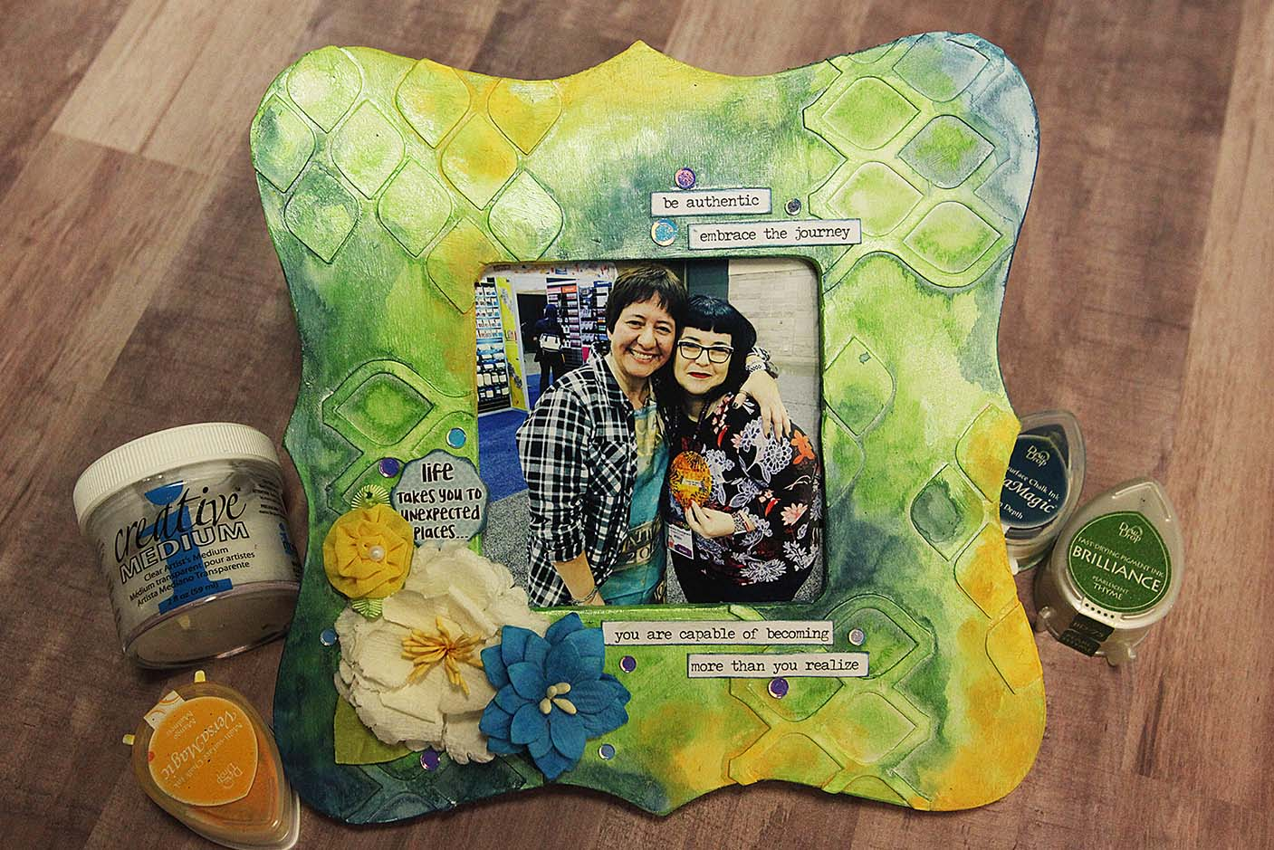 Hand decorated photo frame featuring texture, mixed media techniques and VersaMagic ink.