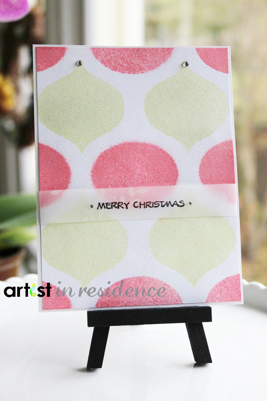 Handmade Christmas card featuring stenciled ornament shapes made using Fireworks Shimmery Craft Spray