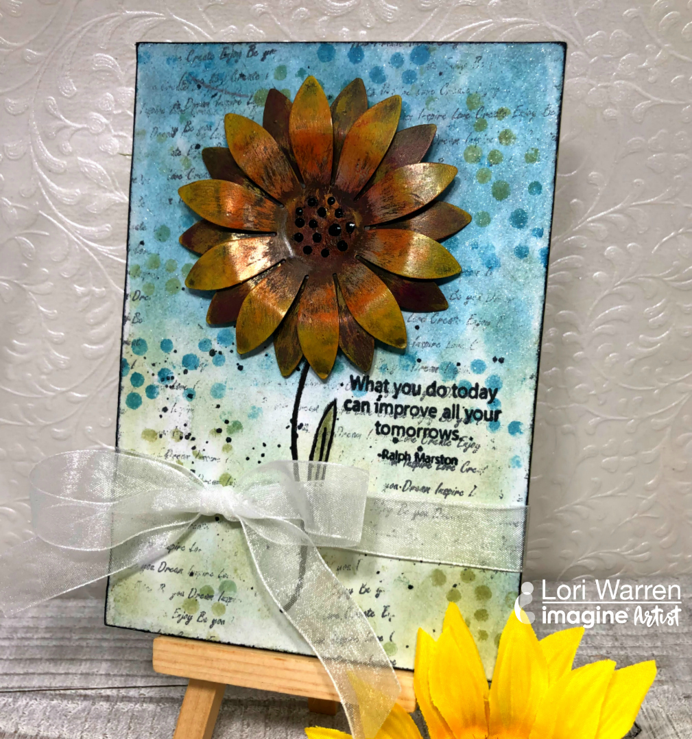 Handmade mixed media canvas featuring a 3D sunflower colored with StazOn Pigment Ink.