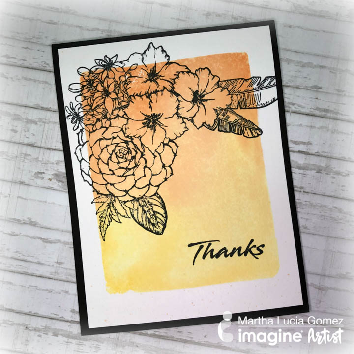 Handmade card in yellow and orange with a floral image made using Memento ink pads.