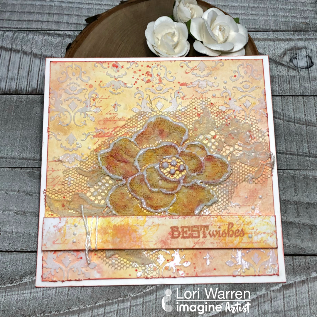 Handmade mixed media card featuring real lace inked with VersaMagic inks.