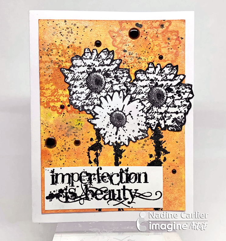 Handmade orange card made using mixed media and Brilliance Inks.