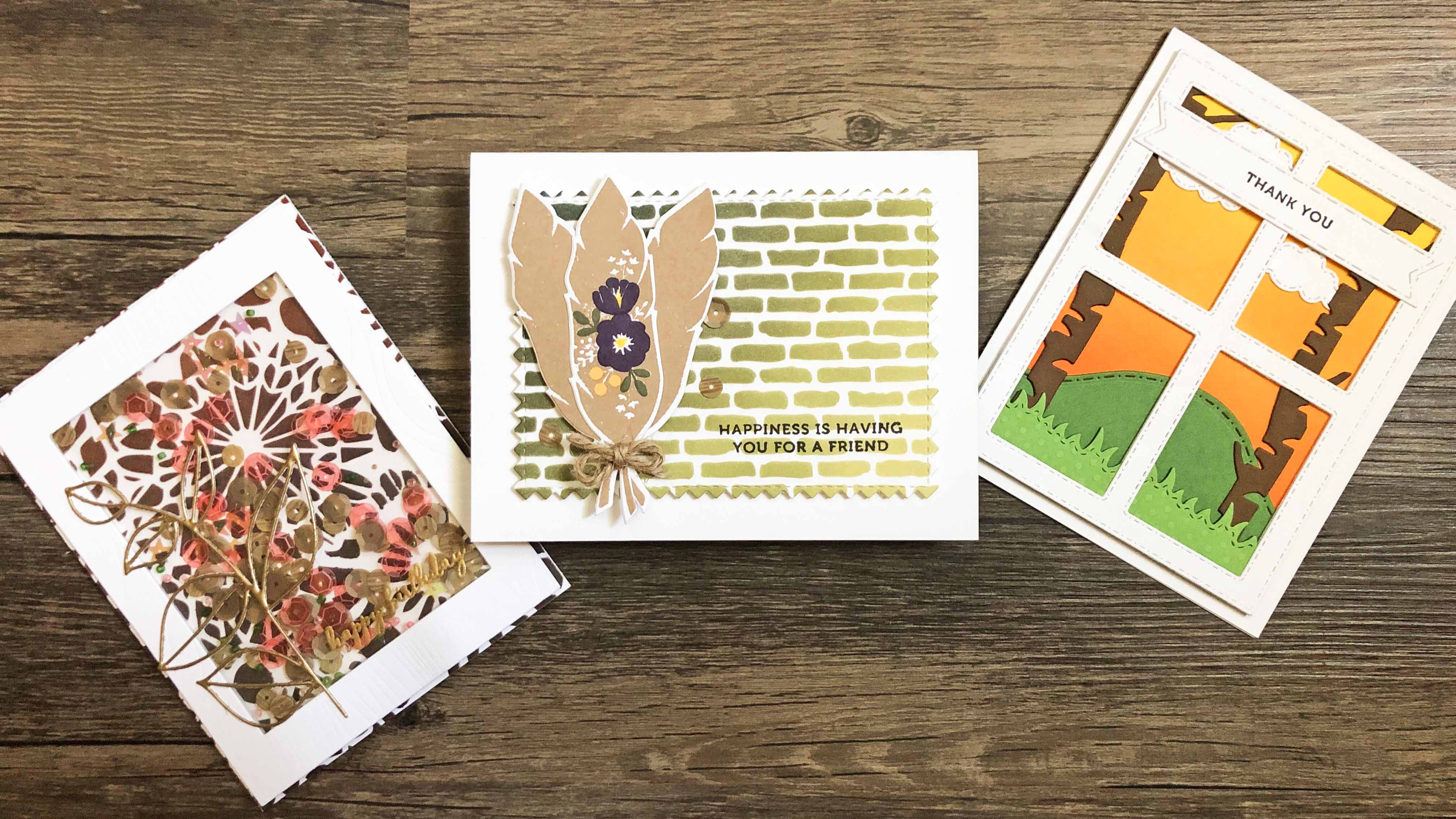 3 handmade cards featuring ombre ink blended backgrounds