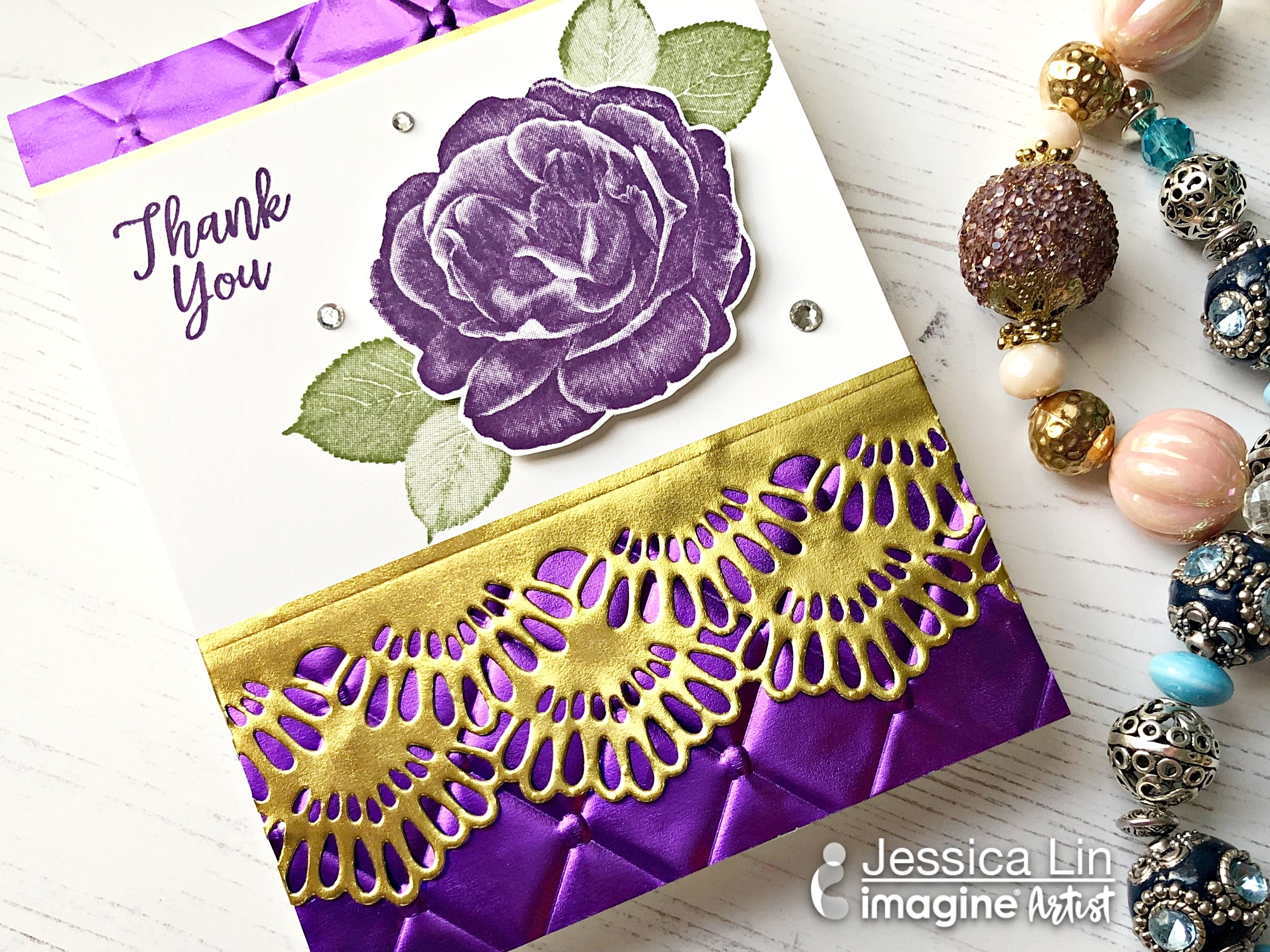 Embossed Gold and Purple Foil Paper Border Thank You Card