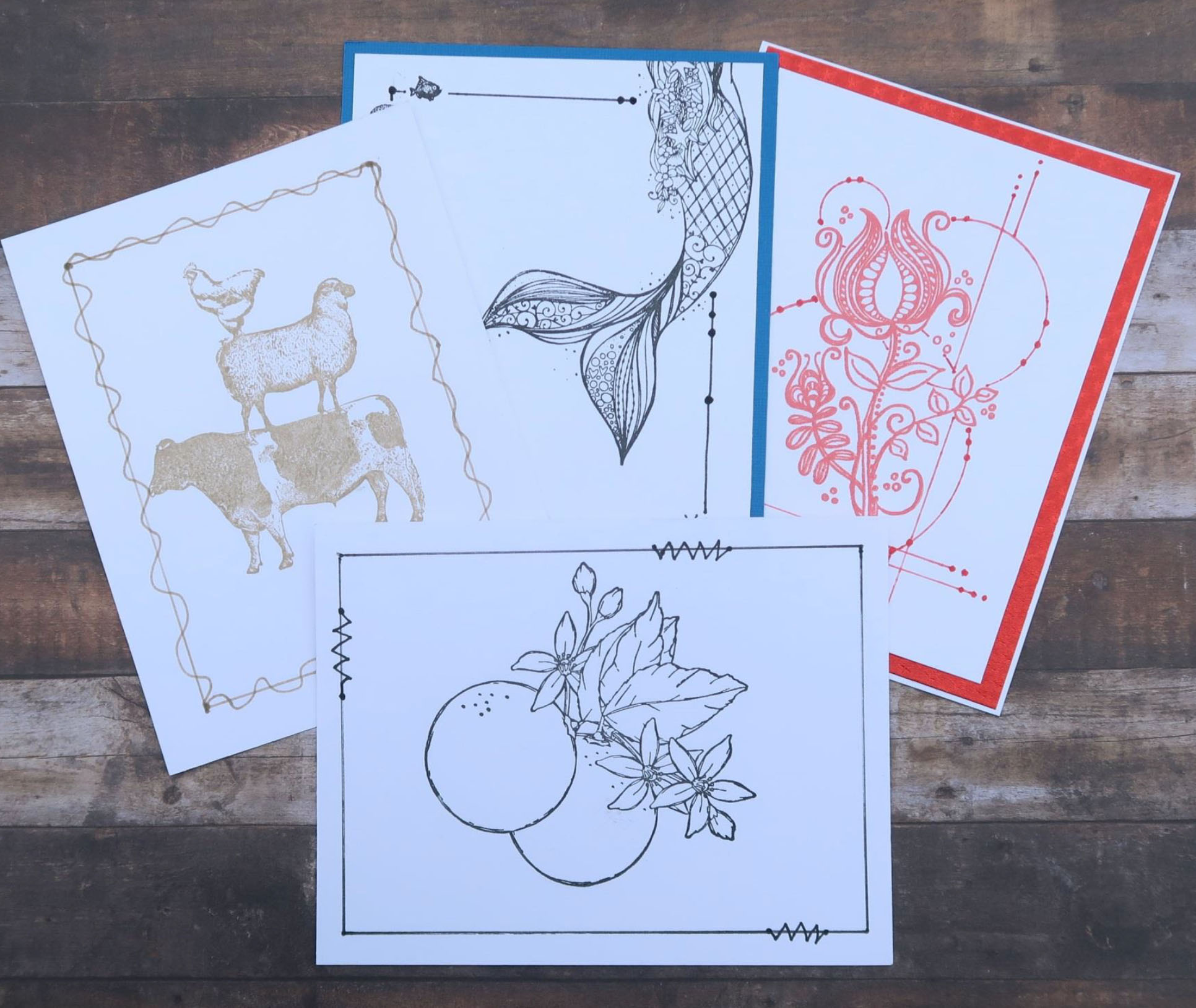 Greeting Cards made with a single stamp, a single ink pad, a pen and a straight edge.